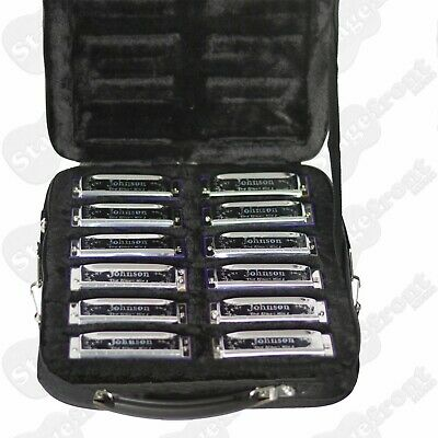 "Johnson Ob12Mj- Set Of 12 Diatonic ""Blues King"" Harmonicas. Includes Case - New"