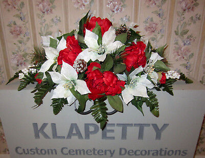 Red Christmas Flowers Poinsettias Memorial Day Cemetery Grave Headstone Saddle