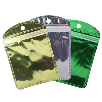 """Various QTY Glossy Clear & Gold Hanghole Small Storage Ziplock Bags 4x6"""""""