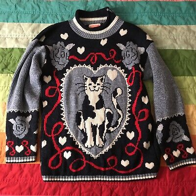 Girls Ugly Cat Sweater Size Large 14 Blue Roses Grand USA Vintage A220
