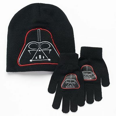 Disney Star Wars Darth Vader Knit Winter Hat Gloves Set Black Grey Boys 4-7