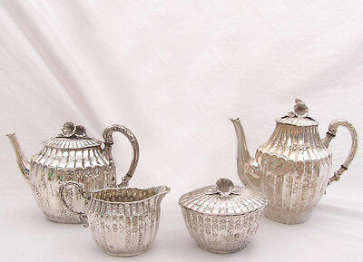 Ornate 5 Piece Tea Set w/Tray  - Flowered Top  - 800/1000 Silver - Russian
