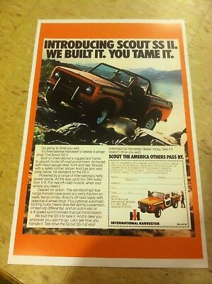 Vintage International Scout Jeep Poster Ad Home Decor Art Man Cave