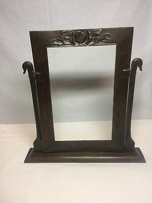 Antique Arts & Crafts Wood Swing Photo Frame with Hand Carvings