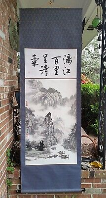 "82""l Antique Signed Sealed Original Japanese Watercolor Painting Scroll Wood Rod"