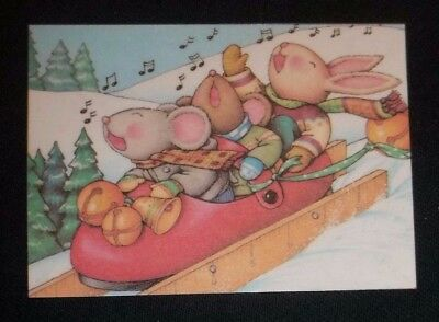 Handmade Mary Engelbreit fridge magnet-Mice singing and sledding