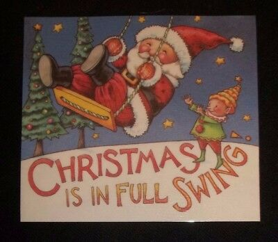 Handmade Mary Engelbreit fridge magnet-Christmas is in full swing-Santa & elf