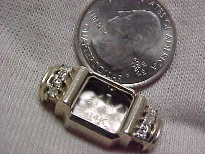 14k SCRAP GOLD 5.0 grams tw, 8-small diamonds WATCH CASE sold as scrap gold
