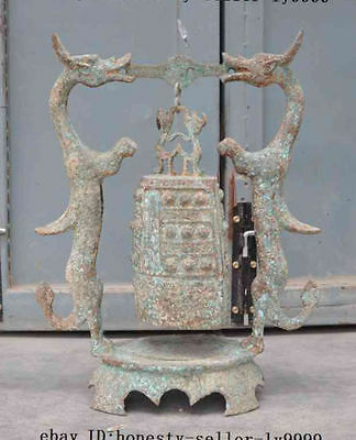 """20""""A Old Chinese Buddhism Temple Bronze Dragon phoenix Handle Hanging Clock Bell"""