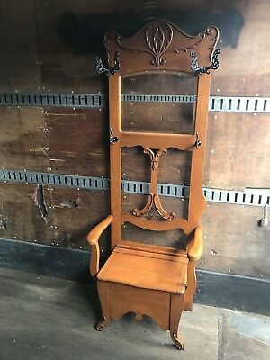 Antique Vintage Victorian Oak Hall Seat Rack / Hooks Mirror