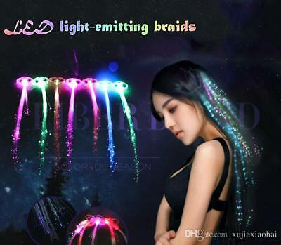 5x LED Light-Up Hairpin Braid Luminous Fiber Optic Flashing Hair Rave Party