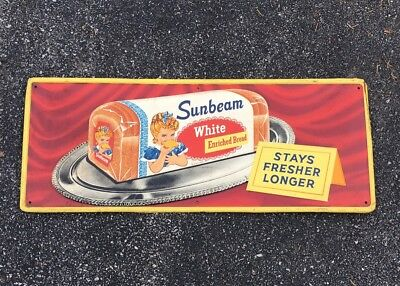 "Original 1957 Sunbeam Bread 11-1/2"" x 29-1/2"" Embossed Tin Sign NICE!!!"