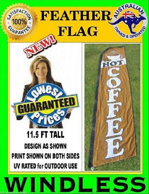 HOT COFFEE flag WINDLESS feather flag for bakery deli food shop cafe restaurant