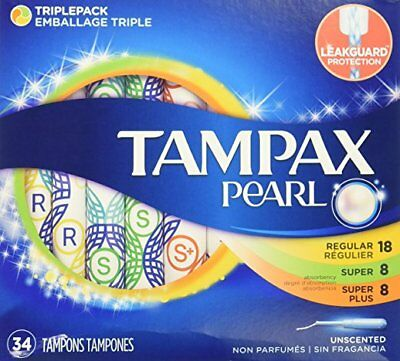 Tampax Pearl Unscented Tampons, Triple Pack, 34 ct, - 6 Pack
