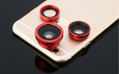 NEW Red 3 in1 Fisheye Wide Angle Macro Clip-on Camera General Mobile Phone Lens