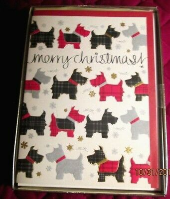 Scottish Terrier, Scottie Dog 16 Christmas Cards With Cordinating Envelopes