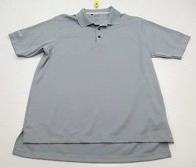 ADIDAS #T4679 Men's Size L Athletic CLIMALITE GOLF Short Sleeve Gray Polo Shirt