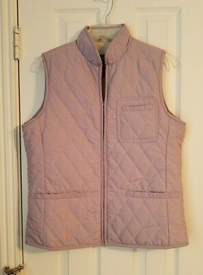 NEW Eddie Bauer Woman Size M Lilac Quilted Polyester Zip Vest Grey Fleece Lined