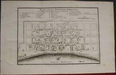 New Orleans Louisiana United States 1756 Bellin Antique Copper Engraved City Map