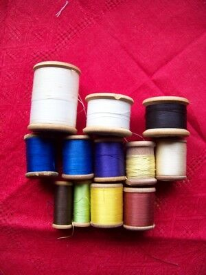 12 Vintage Cottons On Wooden Reels