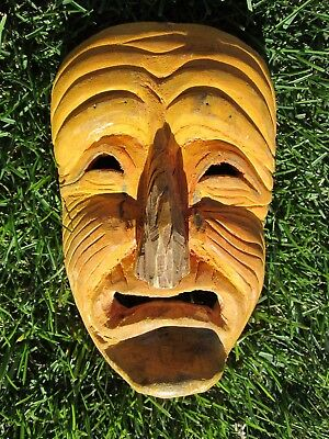 Antique Native American Indian Iroquois False-face Hand Carved Wood Mask