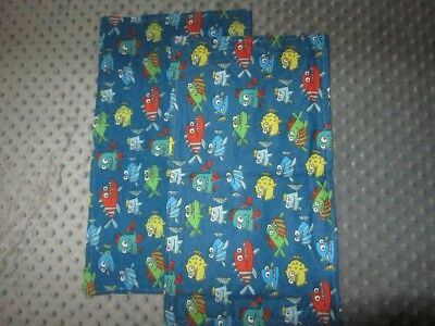 Set of Two Blue Fish Double-Sided Flannel Burp Cloths