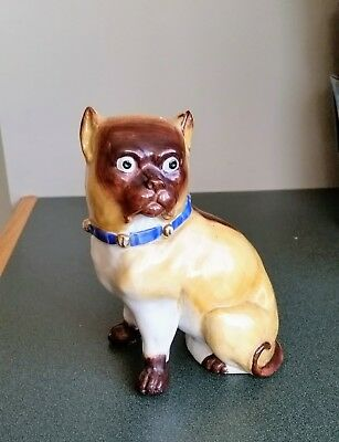 Antique Staffordshire Porcelain Pug Dog With Bell Collar Figurine-Jingles