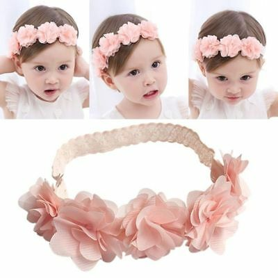 Newborn Baby Girls Infant Headband Lace Flower Elastic Hair Band Accessories