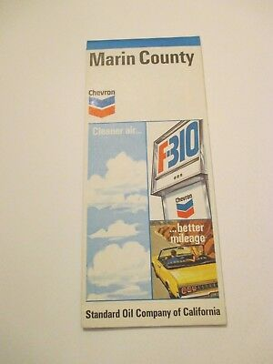 1971 CHEVRON Marin County California City Street Gas Service Station Road Map