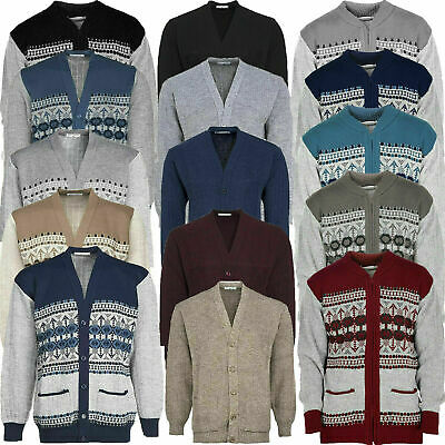 Mens Classic Cardigan Aztec Pattern Zip Thick Warm Knitted Jumper Winter Sweater