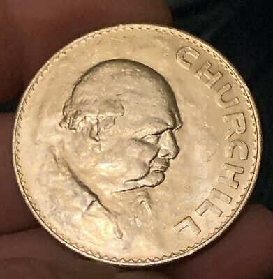 Old Large Style 1965 SIR WINSTON CHURCHILL One Crown Coin Very Good Condition