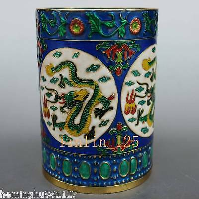 Chinese old Collect rare Delicate Cloisonne handwork Dragon Brush Pots