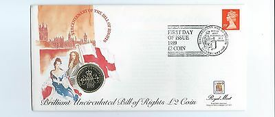 £2 Coin 1989 On First Day Cover, Bill Of Rights