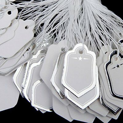 500pcs Price tags with strings Hanging Salesplay - White and silver B4K4