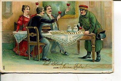 Frohes Neues Jahr Happy new year Briefträger Post Prosit 1913