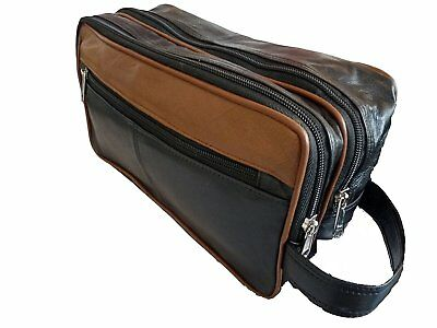 Leather 2 Tone Toiletry Wash Bag for Toiletries - Holiday Travel Washbag 20016