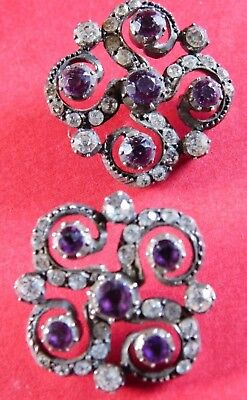 Pair Of Antique Silver Buttons With Amethyst And Clear Paste Stones