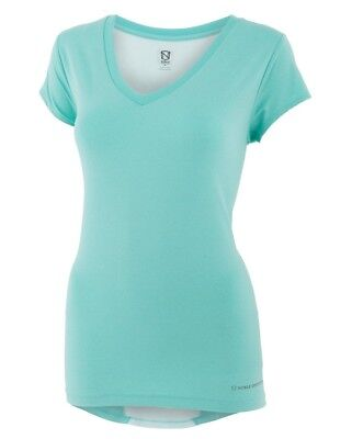 (Medium, Aqua Sky Heather) - Noble Karleigh Short Sleeve V-Neck Vivacious
