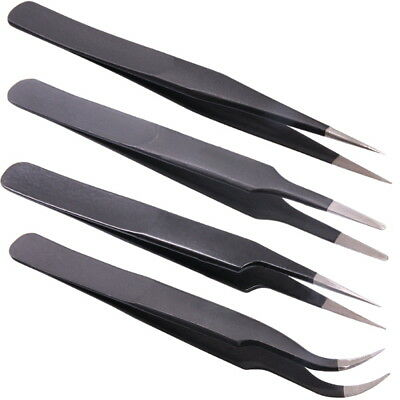 Curved Stainless Steel Fine Pointed Tweezers for Soldering Handle