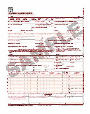 2500 Laser Cms-1500 (02-12) Insurance Hcfa Claim Forms