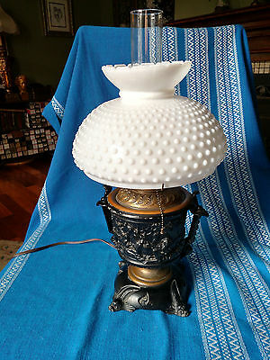 Antique Cast Iron Urn with Electric Oil Burner Insert Milk Glass Lamp Shade