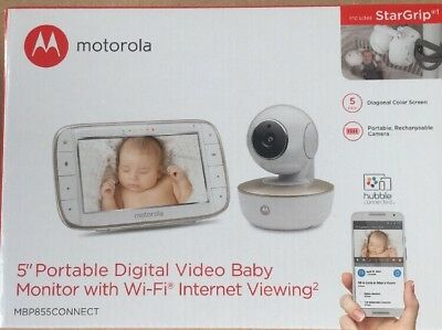 Motorola MBP855 Connect 5-Inch Curved Screen Video Baby Monitor Pan Tilt  Wi-fi