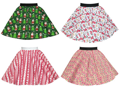 GIRLS Christmas Jumper Day SKIRTS Christmas Fancy Dress Festive Circle Skirts