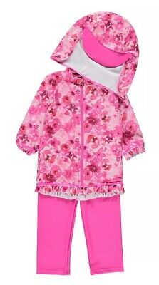 Baby Girls 3 Piece Floral UV Swimsuit with Hat 12-18 Months Sun Protection NEW