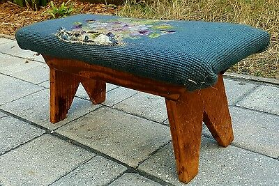 Antique primitive needlepoint footstool ottoman cricket rustic farmhouse vintage