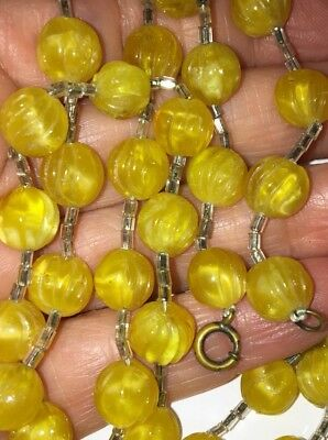 Fabulous Long Vintage Antique Art Deco Glass Bead Necklace With Old Jump Clasp