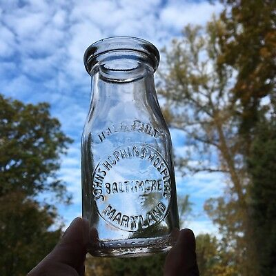 1/2 Pt Milk Bottle Johns Hopkins Hospital Baltimore MD Maryland Emb Scarce Nice