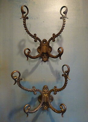 Pair of Antique Ornate French Bronze Wall Coat Hooks