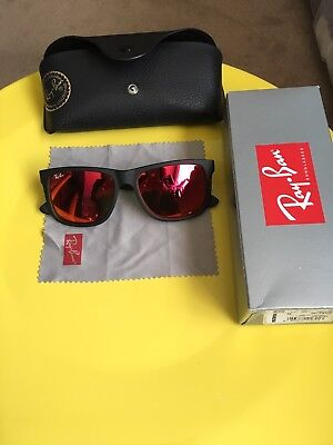Ray Ban Justin Glasses With Red Lense EUC