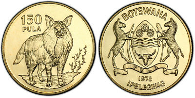 BOTSWANA. 1978 AV 150 Pula. PCGS MS68 KM 13. Wildlife – Brown Hyena.